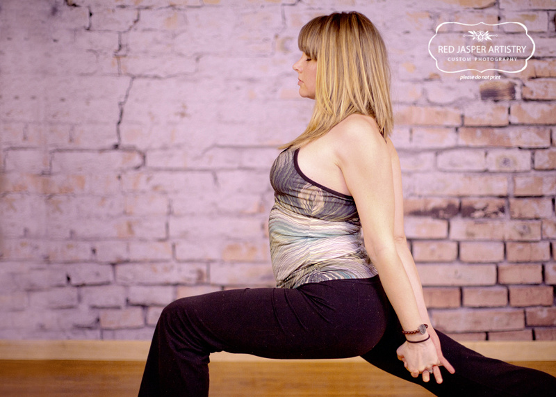 This image is unique to Sara as she is doing Warrior 1 pose, but has modified it so she can stretch her shoulders.   Just like in photography no two sessions are alike and sometimes we modify a session to meet the needs of the individual client.