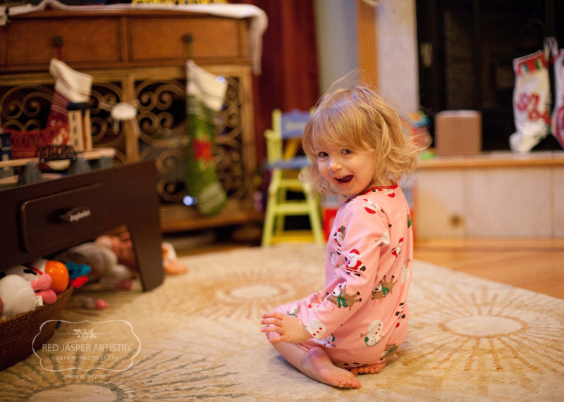 The gemstone was so excited for Christmas morning.  She could barely stand herself.  She did three laps at full speed around the living room to burn off all the excitement before she sat  down to open Santa